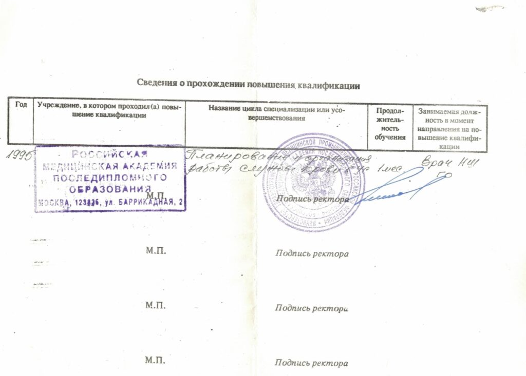 повышение квалификации врача Субботина А.А.